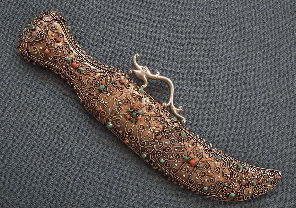 SOLD Antique Chinese Mongolian Jeweled Silver Dagger Corals & Turquoises