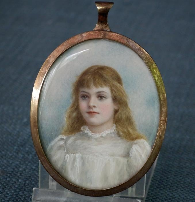 SOLD Antique Painted Miniature Portrait Of A Young Girl