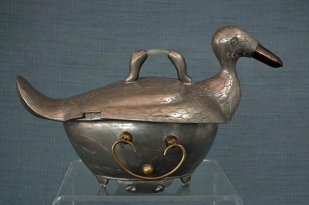 SOLD Antique Chinese Qing Dynasty Pewter Duck Shape Turin With Jade Jadeite