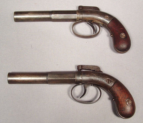 SOLD  Antique Gun American percussion pistols