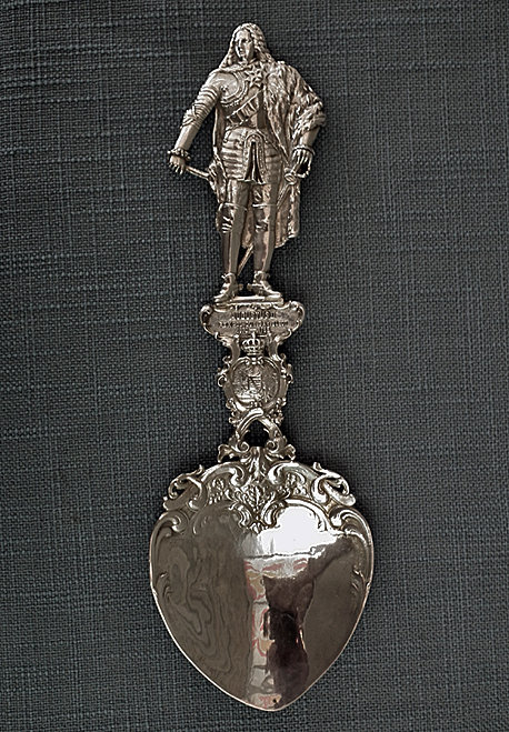 SOLD Antique Silver Spoon Augustus The Strong King Of Poland & Polish Lithuanian Coat Of Arms