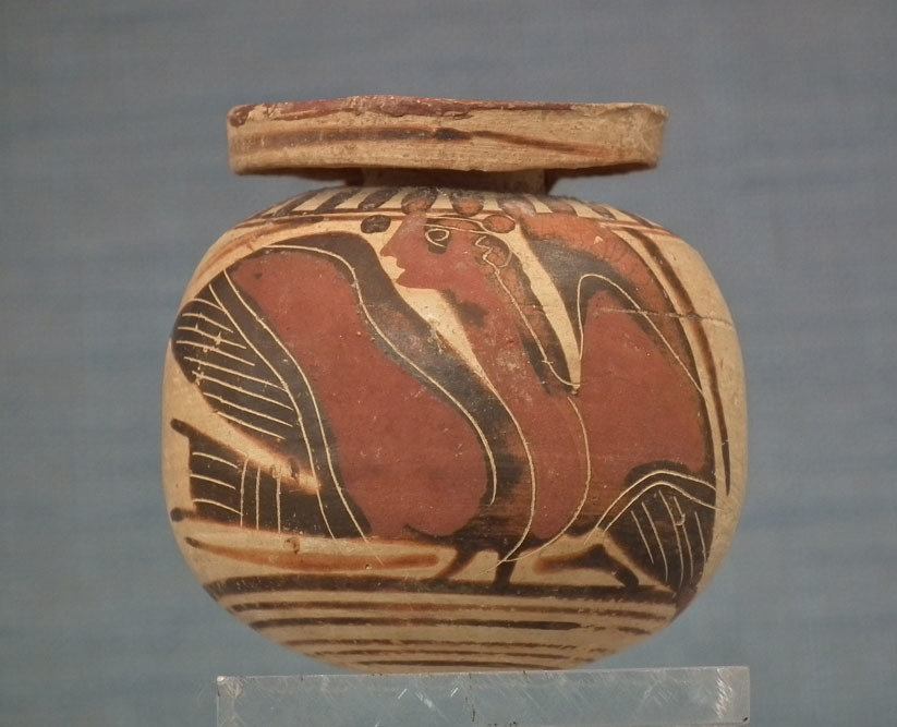SOLD Ancient 6th century B.C. Greek Corinthian Pottery Aryballos With Siren
