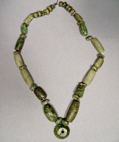 SOLD Pre-Columbian Maya Mayan Green Stone Necklace