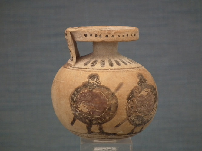 SOLD Ancient 6th century B.C. Greek Corinthian Pottery Perfume Aryballos With 4 Hoplites