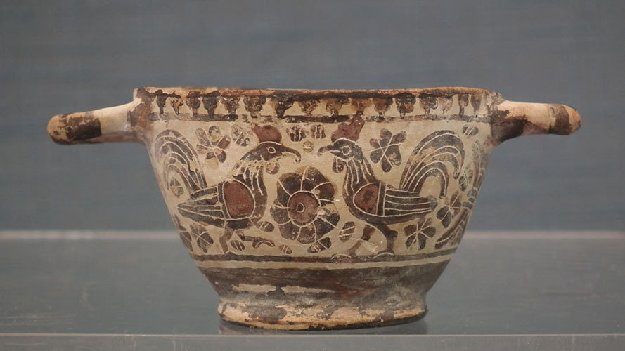 SOLD Ancient 7th - 6th century B.C. Greek Corinthian Pottery Wine Cup Skyphos - Kotyle