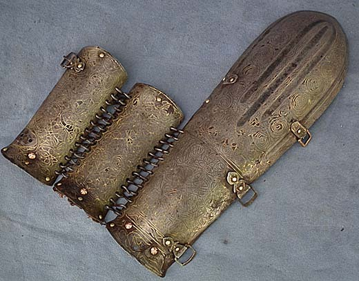 SOLD Very Rare Antique 15th-17th century Turkish Ottoman Armour Arm guard Bazuband