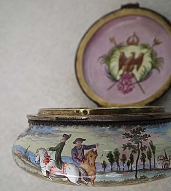 SOLD Antique Viennese Silver and Enamel Napoleonic Snuff Box With Napoleon by Herman Boehm