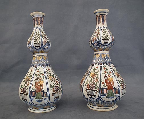 SOLD Pair of Antique  French Chinoiserie Faience Vases 18th 19th century