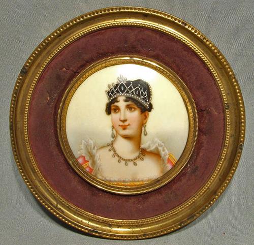 SOLD Antique Napoleonic Miniature Portrait Empress Josephine 19th c