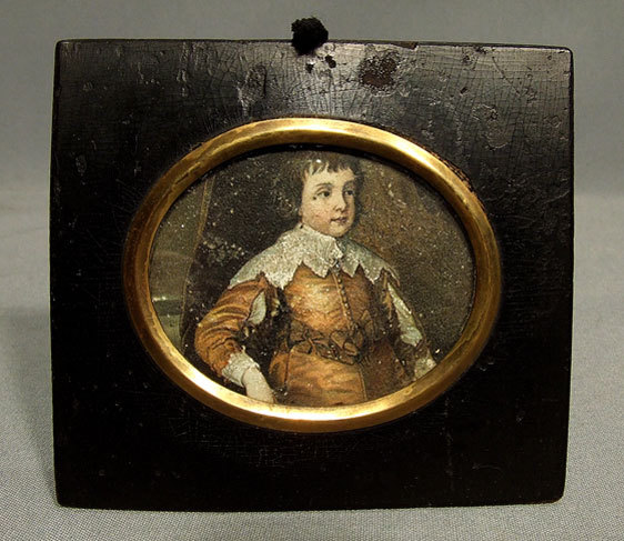 SOLD Antique Miniature Portrait of Young Aristocrat