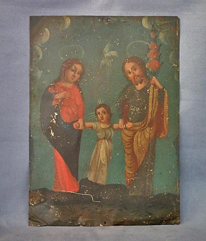 SOLD Antique Spanish Colonial Retablo Painting The Holy Family