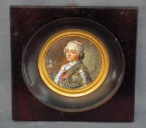 SOLD Antique Miniature Painting Portrait  Army Commander in Armour