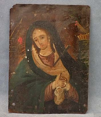 SOLD Antique Spanish Colonial Retablos Mater Dolorosa Our Lady of Sorrows 18th century