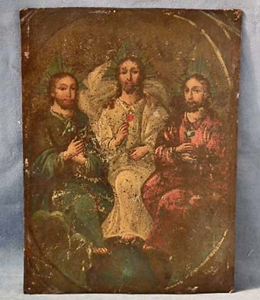SOLD Antique Spanish Colonial Painting Retablos La Santisima Trinidad Holy Trinity