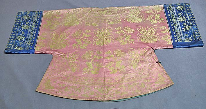 SOLD Antique Chinese Qing Dynasty Damask Silk Robe