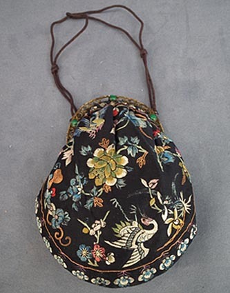 SOLD Antique Chinese Qing Dynasty embroidered Silk  Hand Purse to Robe