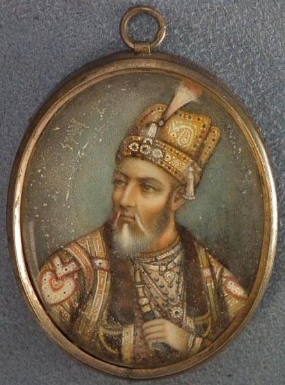 SOLD Antique 19th century Islamic Indian miniature portrait Bahadur Shah Zafar II  Mughal Emperor of India