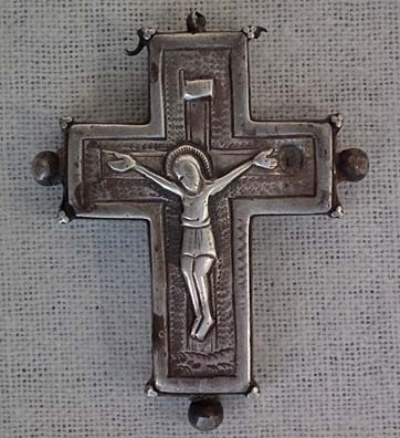 SOLD Antique 9th -13th century Silver & Iron Byzantine Pectoral Reliquary Cross