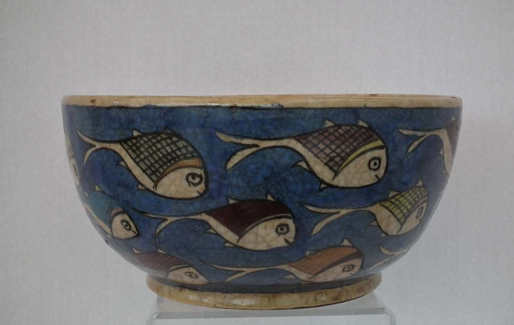 SOLD Large Antique 19th Century Islamic Persian Qajar Dynasty Ceramic Bowl