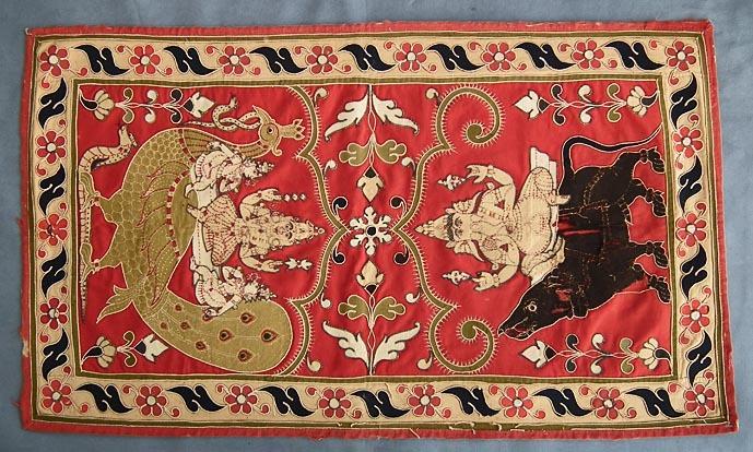 SOLD Antique Indian Hindu Resht  Rashti  Rasht tapestry Ganesha & Kartikay