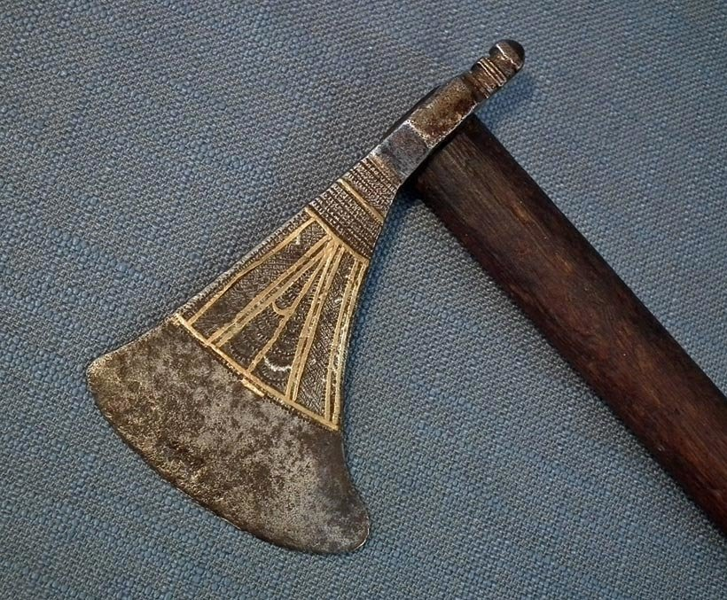 SOLD Antique 17th-18 century Indo Persian Central Asian Islamic Saddle Axe