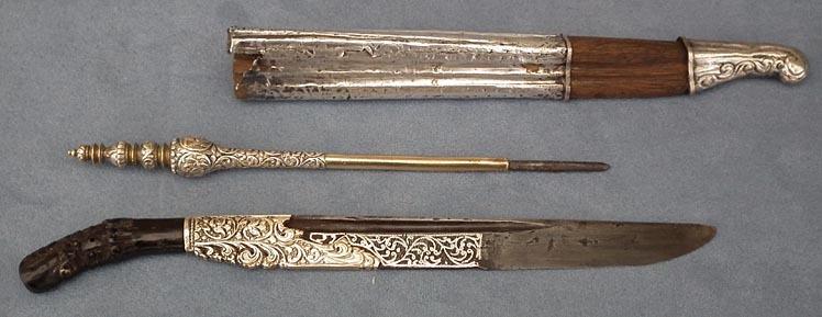 SOLD Antique Dagger Ceylonese Sinhalese Ppiha - kaetta Knife Piha - Kaetta & Scabard