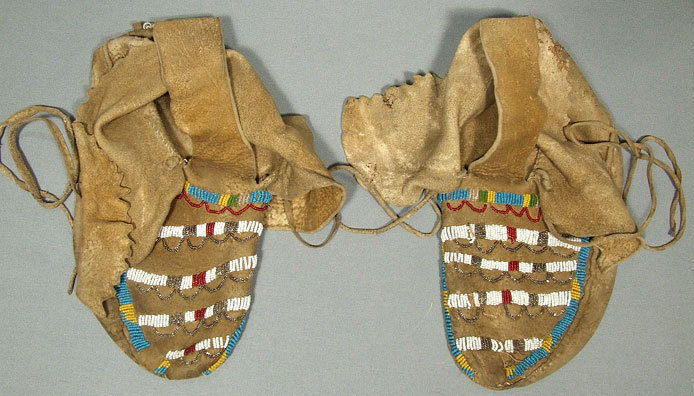 SOLD Antique American  Indian Beaded Moccasins