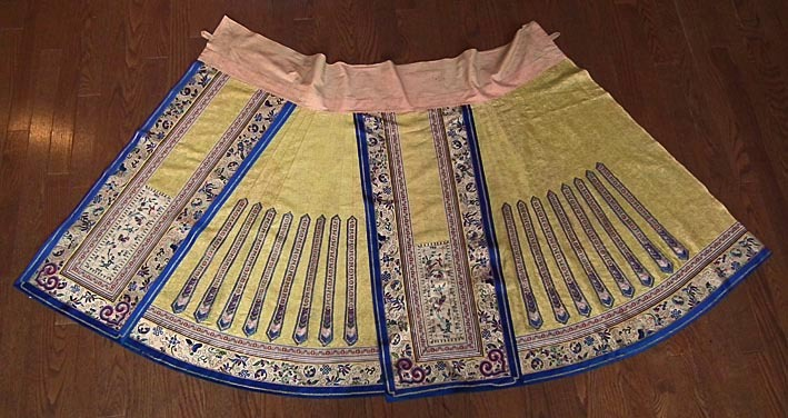SOLD Antique 19th century Qing Dynasty Chinese woman's yellow silk skirt, QUN (Semiformal Paired Aprons)