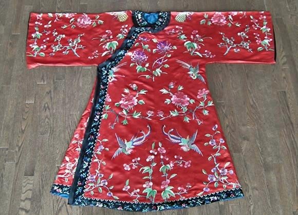 SOLD Antique late 19th century Chinese Qing Dynasty robe. red Satin Silk Embroidered