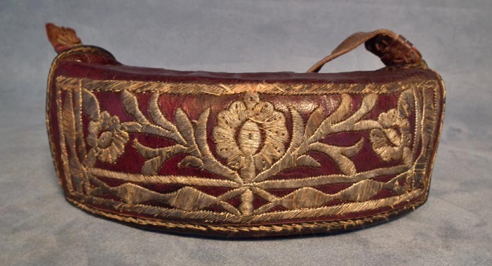SOLD Antique 18th century Turkish Ottoman Islamic gun cartridge pouch embroidered in silver