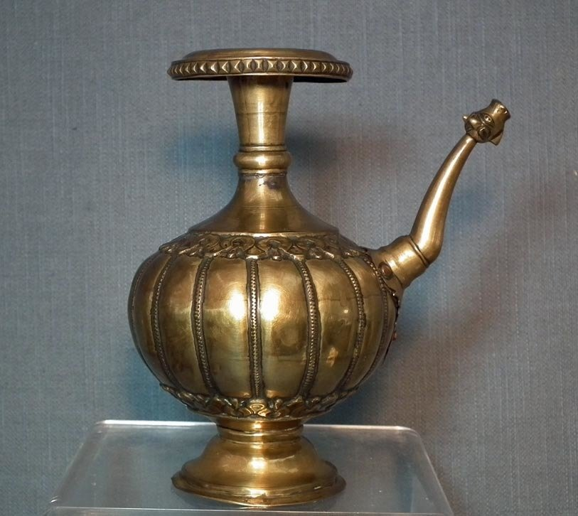 SOLD Antique 18th Century Northern Indian Brass Ewer With Dragon's Head Spout
