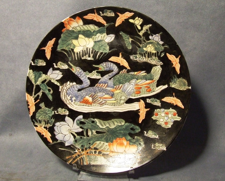 SOLD Antique Chinese Hand Painted Enameled Porcelain Plate Dish 1900