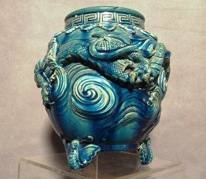 SOLD Antique Chinese Incense Burner Censer in Blue Turquoise Glaze with dragon 18th/19th c