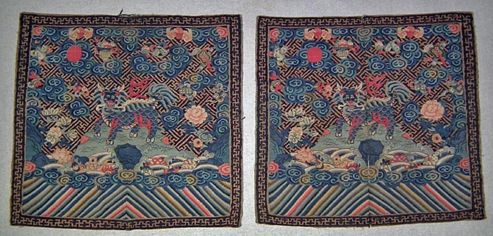 SOLD A pair of Very Rare Antique Kesi silk with gold Chinese Qing Dynasty First Rank badges Military Officials