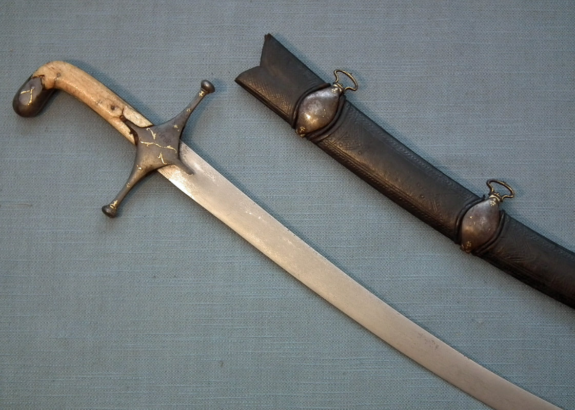 SOLD Antique 17--18th century Islamic Indo Persian Turkish Sword Shamshir Damascus Steel Wootz