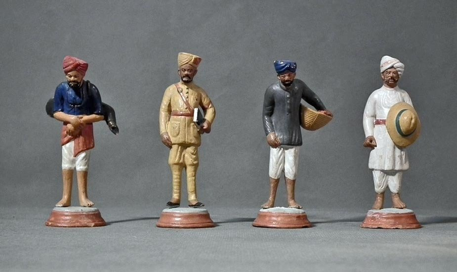 SOLD Rare 4 Antique Victorian Indian Sikh Terracotta Figurines