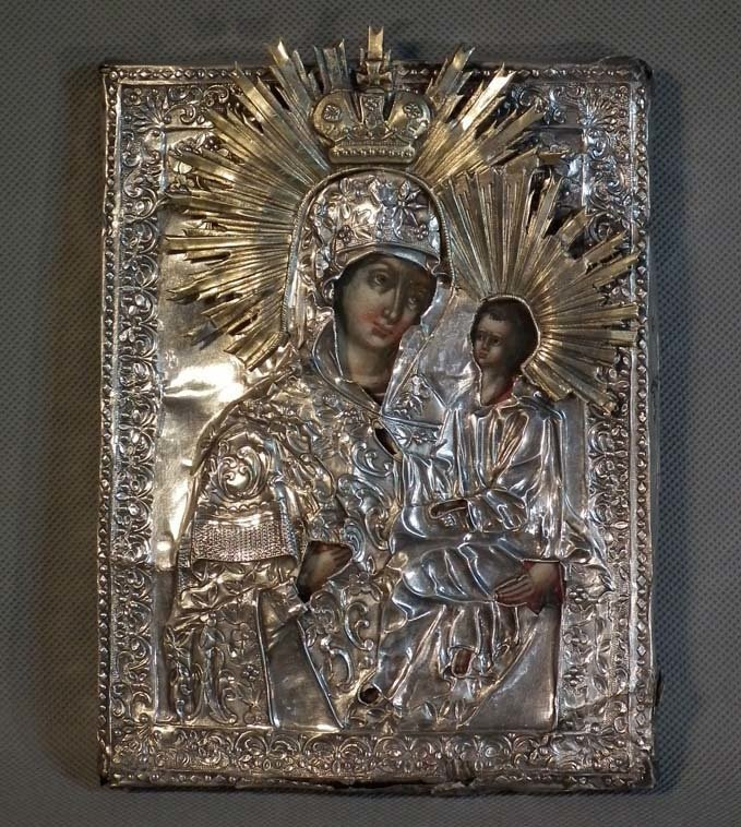 SOLD Antique 18-19th century Russian Icon In Silver Mother of God Of Tikhvinskaya