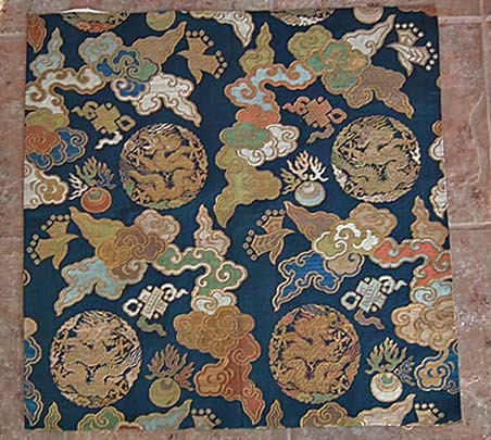 SOLD Rare Antique Chinese 17th -18th century Qing Dynasty Gold  Brocade Silk panel
