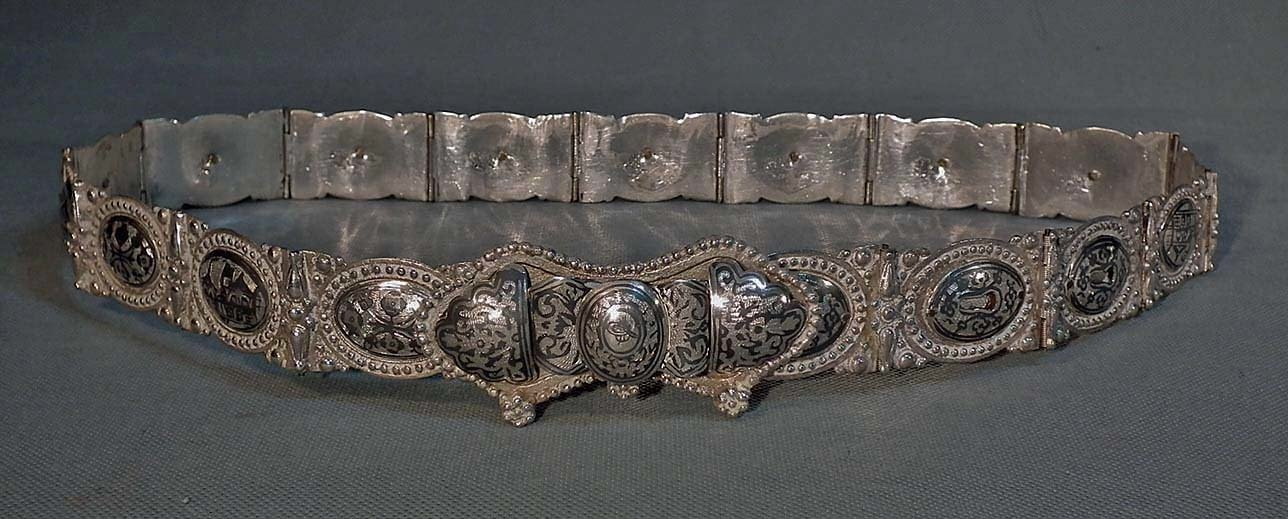 SOLD Antique 19th Century Turkish Ottoman Islamic Silver And Niello Belt