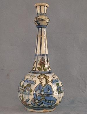SOLD Antique 19th century Qajar Dynasty Persian Islamic Ceramic Bottle Flask