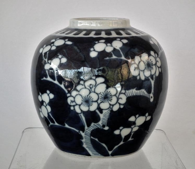 Antique Chinese Qing Dynasty Blue And White Porcelain Vase