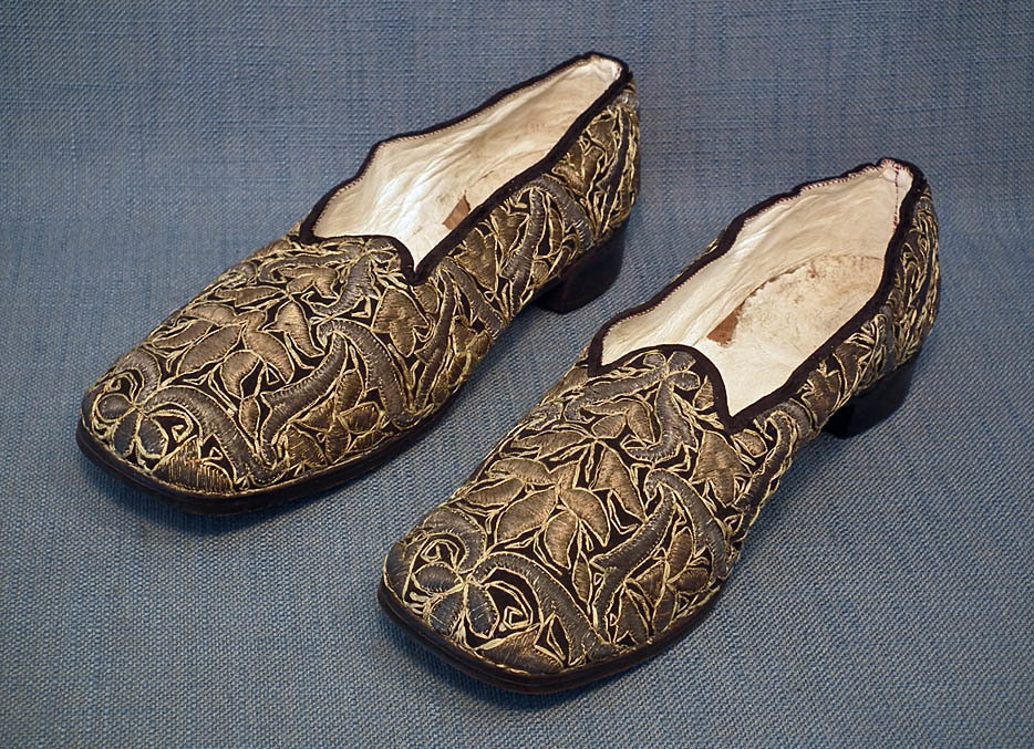 SOLD Antique Turkish Ottoman Islamic Ladies' Shoes Embroidered With Metallic Threads