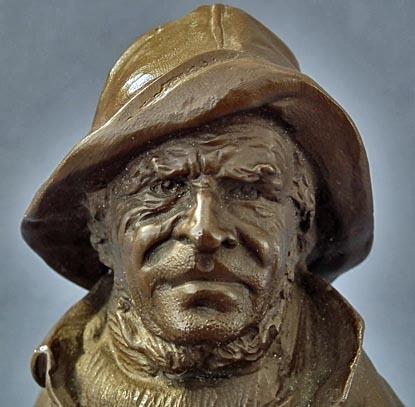 SOLD Antique Mariner Bronze Sculpture by Polish Artist Henryk Kossowski Jr