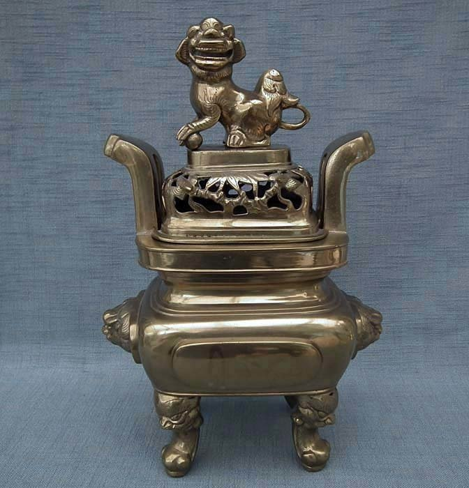 SOLD  Huge Authentic Antique 19th Century Qing Dynasty Chinese Bronze - Brass Censer Incense Burner
