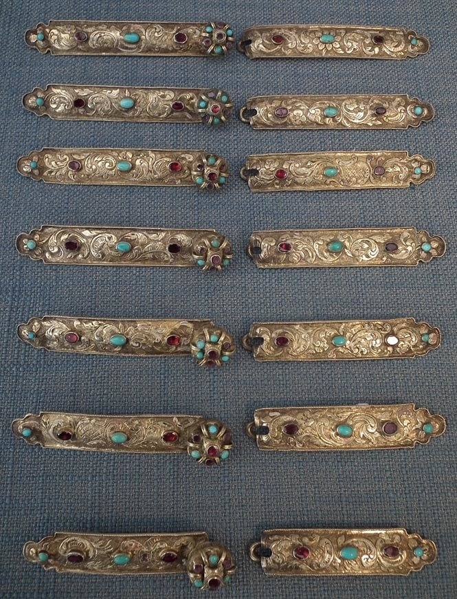 SOLD Antique 17th-18th Century Jewelled Gilt silver Ottoman Hungarian Or Polish Clasps Buckles