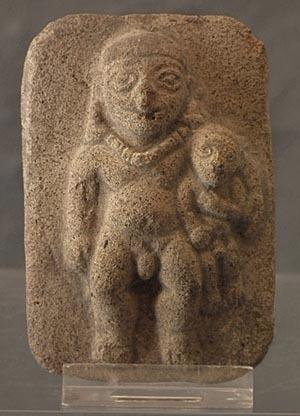 SOLD Antique Pre-Columbian Nude Male Ceramic Plaque Jama-Coaque 300 B.C. - 400 A.D.