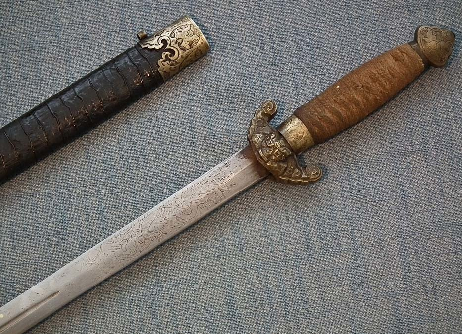 SOLD  Antique Chinese Sword Jian 劍 Qing Dynasty 19th Century China