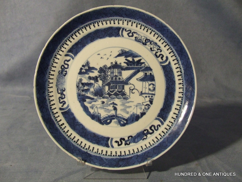 SOLD Antique Chinese Export Blue and White Plate 18th century