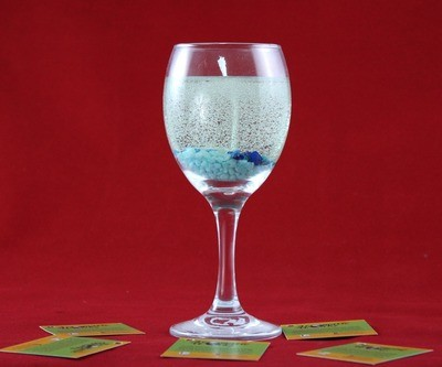 Cool Water Scented Gel Candle In Wine Glass with Dice Embeds