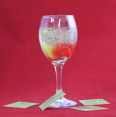 Uuhm! Scented Gel Candle In Wine Glass with Wax Fruits Embeds